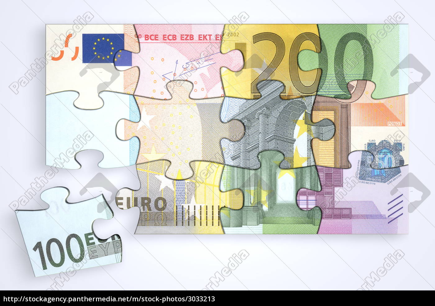 mixed, euro, notes, puzzle, with, separate - 3033213