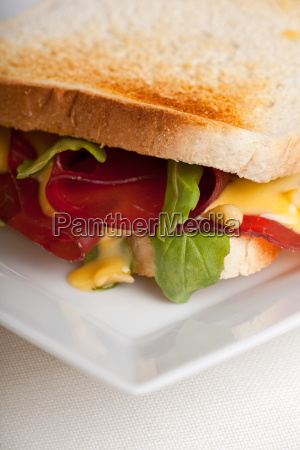 closeup of sandwiches