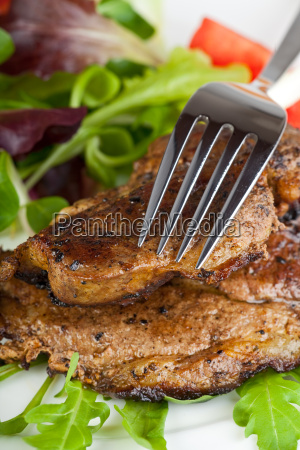 pork steak and mixed salad