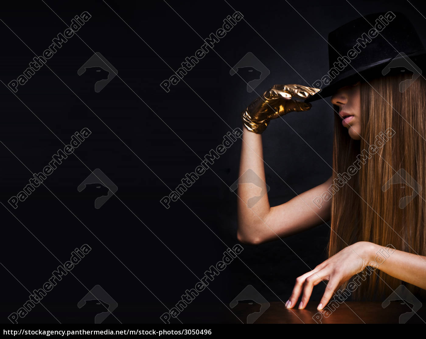 mysterious, woman, wearing, hat, - 3050496