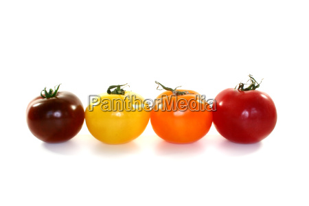 colorful tomatoes in a row