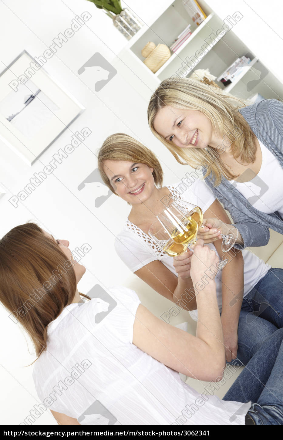 three, girlfriends, drinking, white, wine - 3062341