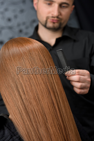 professional, hairdresser, with, fashion, model, at - 3064593