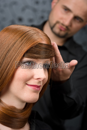 professional, hairdresser, with, fashion, model, at - 3064603