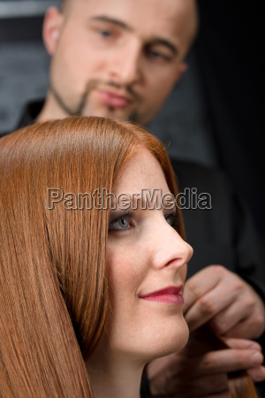 professional, hairdresser, with, fashion, model, at - 3069037
