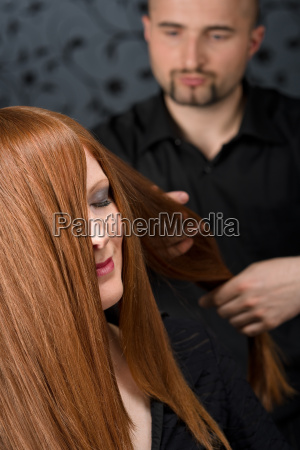 professional, hairdresser, with, fashion, model, at - 3069043