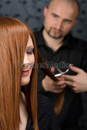 professional, hairdresser, with, fashion, model, at - 3072571