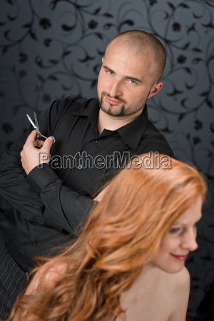 professional, hairdresser, with, fashion, model, at - 3072581
