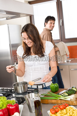 cooking, -, happy, couple, together, in - 3076587