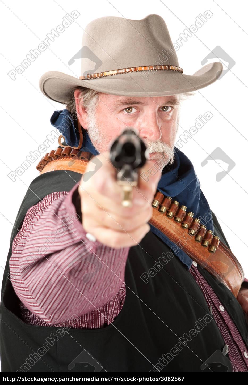 obese, cowboy, on, white, background - 3082567