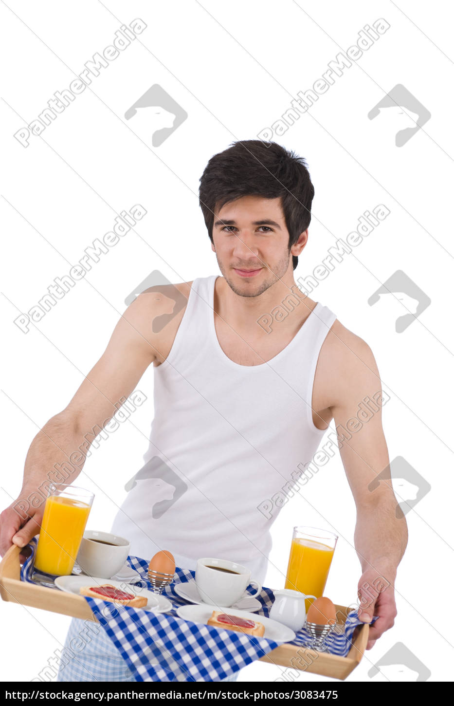 breakfast, -, young, man, holding, tray - 3083475