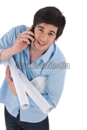 call, helmet, plans, student, architect, white - 3083509