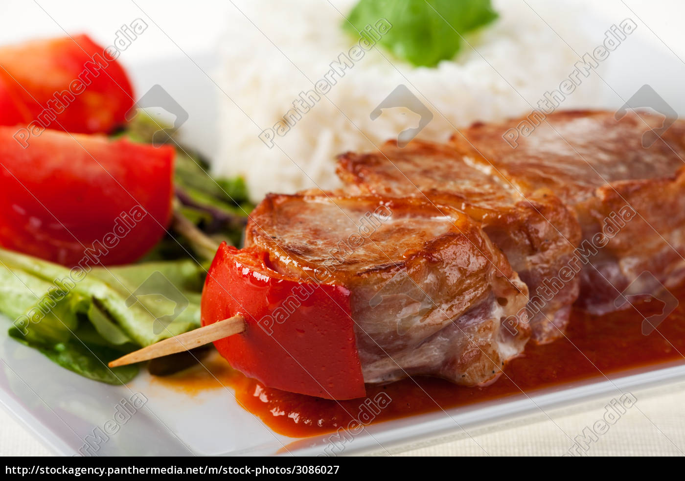 pork, on, a, skewer, with, rice - 3086027