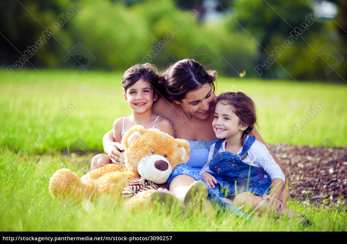 mother, and, two, daughters, playing, in - 3090257