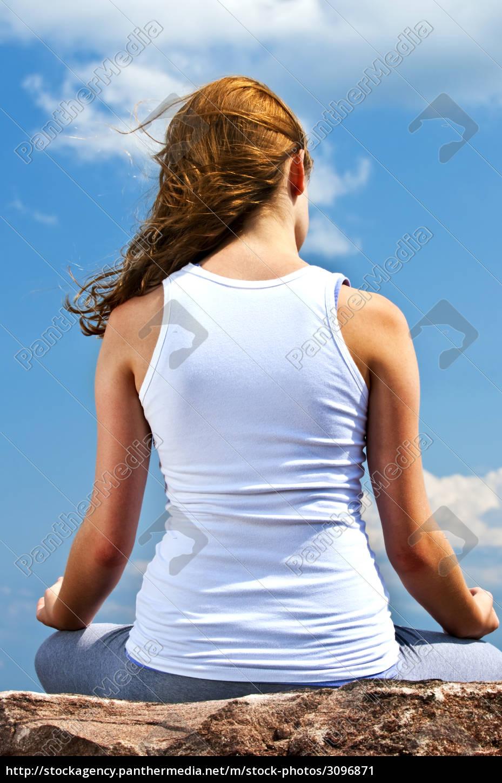 young, girl, meditating, outdoors - 3096871