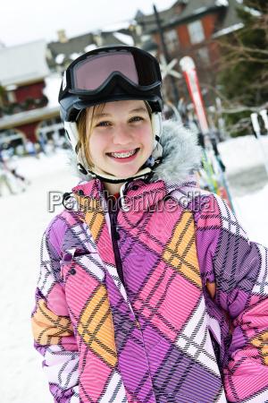 happy, girl, in, ski, helmet, at - 3099537