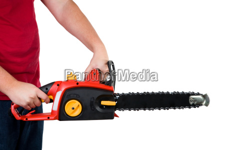 man, holding, chainsaw, isolated, - 3109081