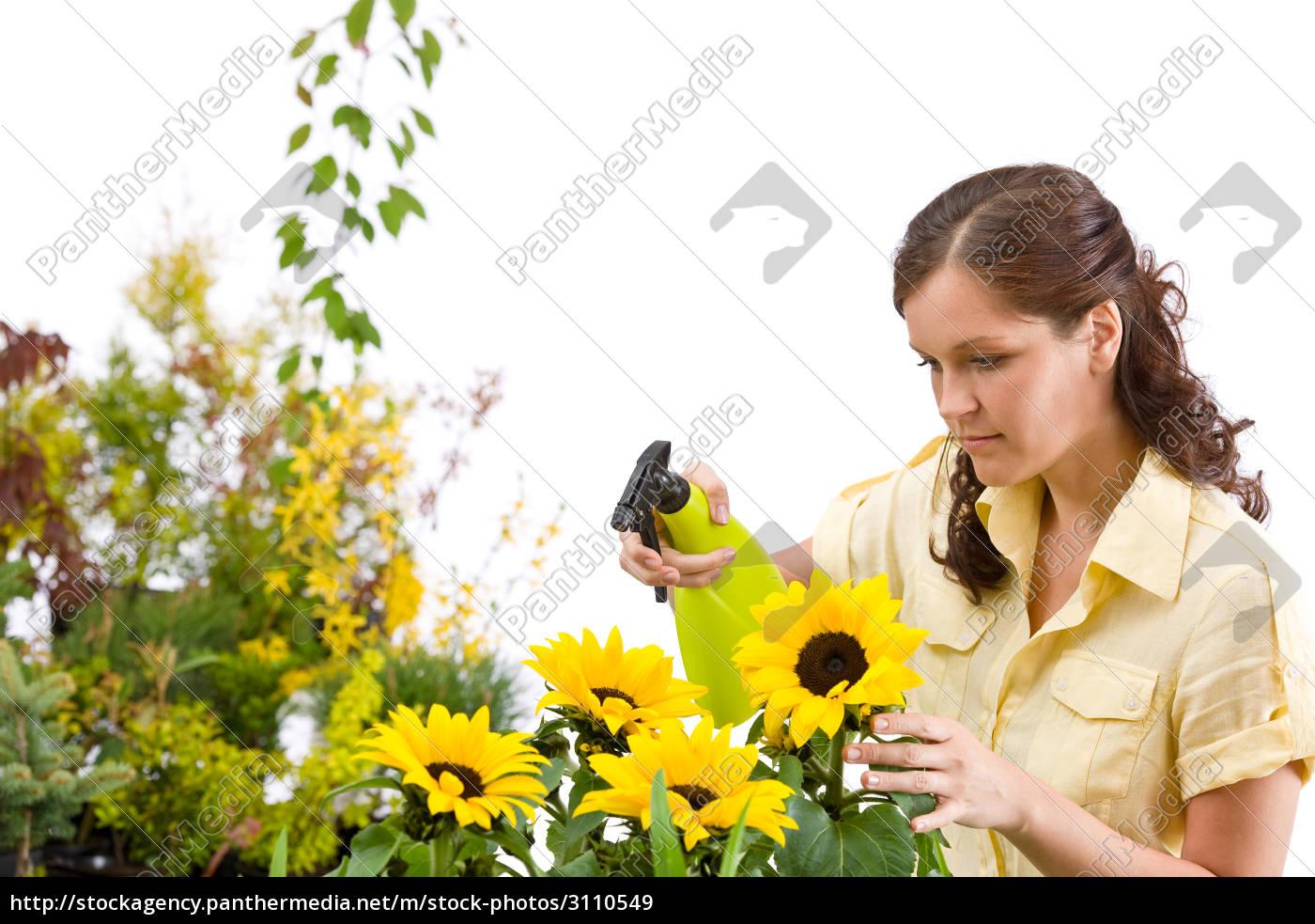 gardening, -, woman, sprinkling, water, on - 3110549