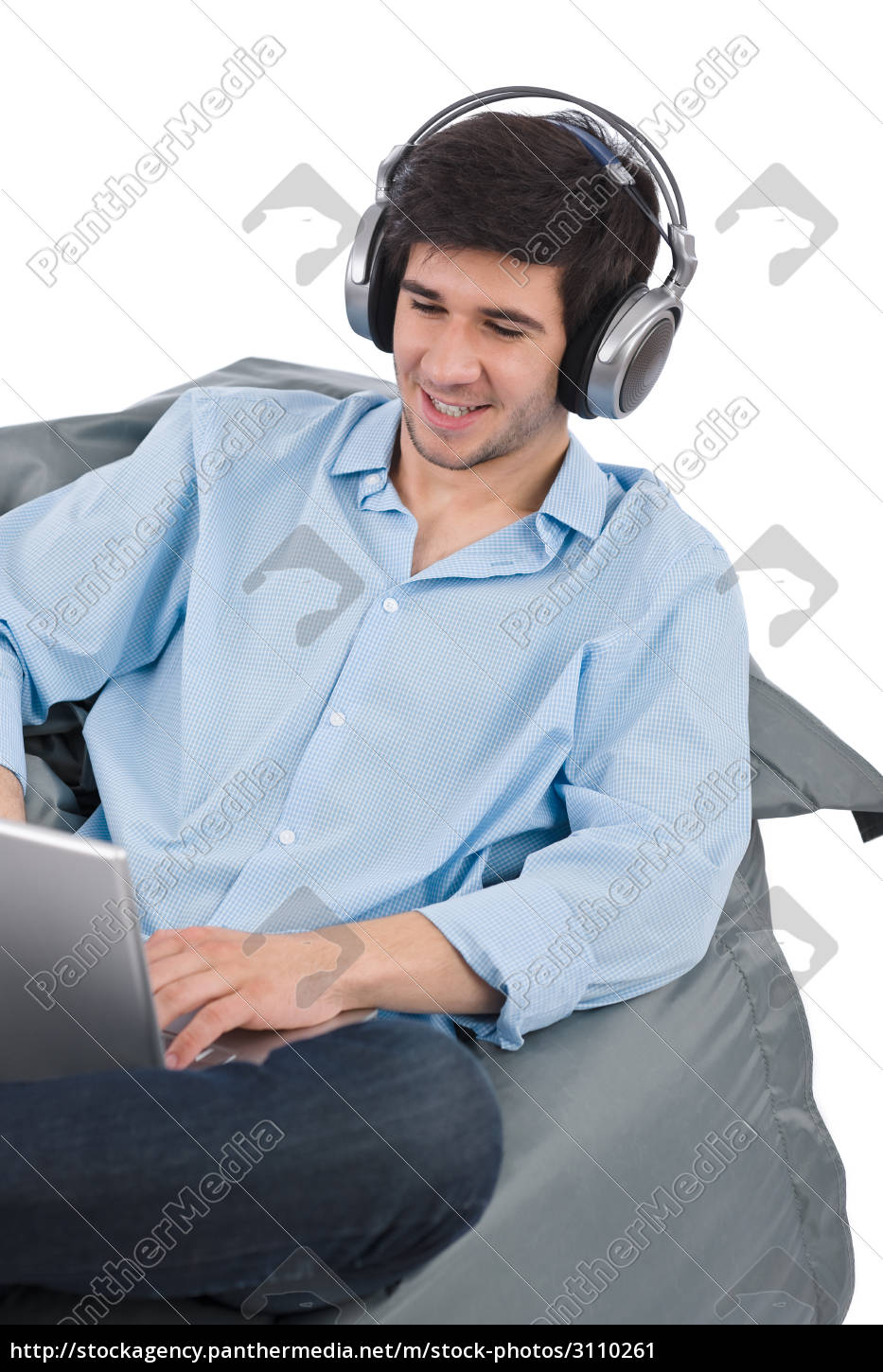 young, businessman, relax, with, music, and - 3110261