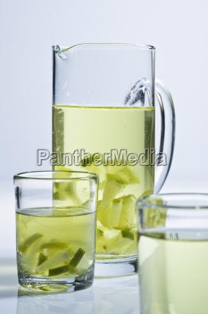 glass jug with tea and limes