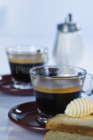espresso with biscuit and butter