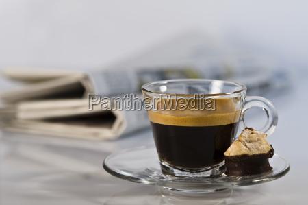 espresso in glass with amaretti and