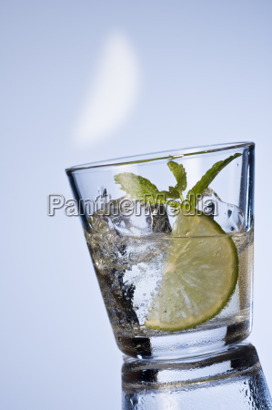 table water with lemon and mint