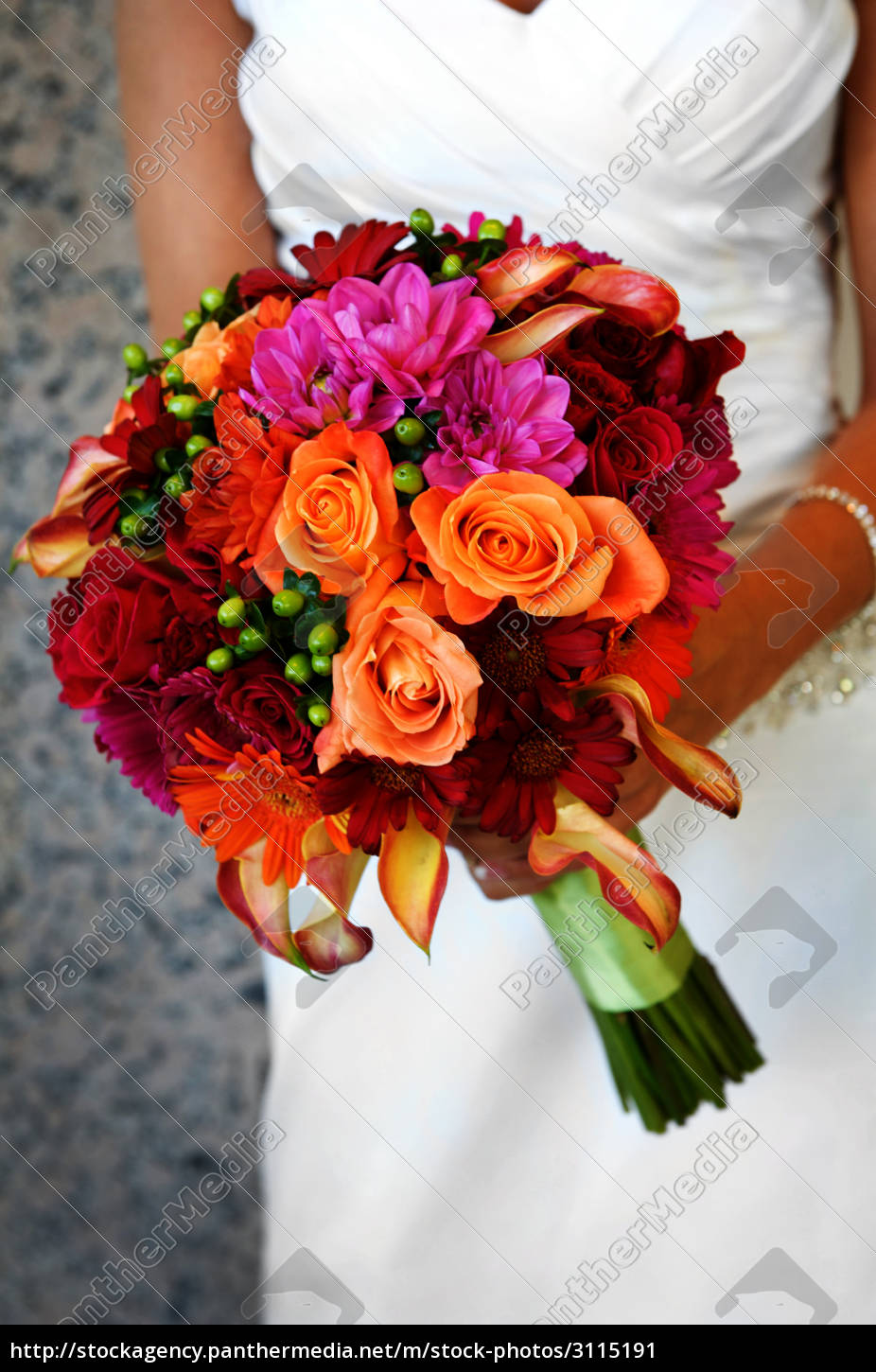 bride, holding, colorful, large, bouquet - 3115191
