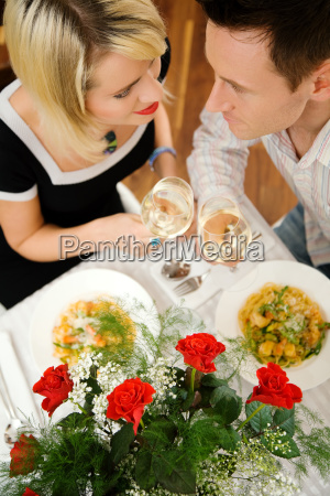 couple, with, pasta, and, wine - 3118549