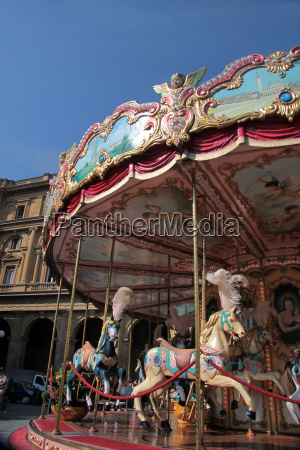 children carousel with horses in florence
