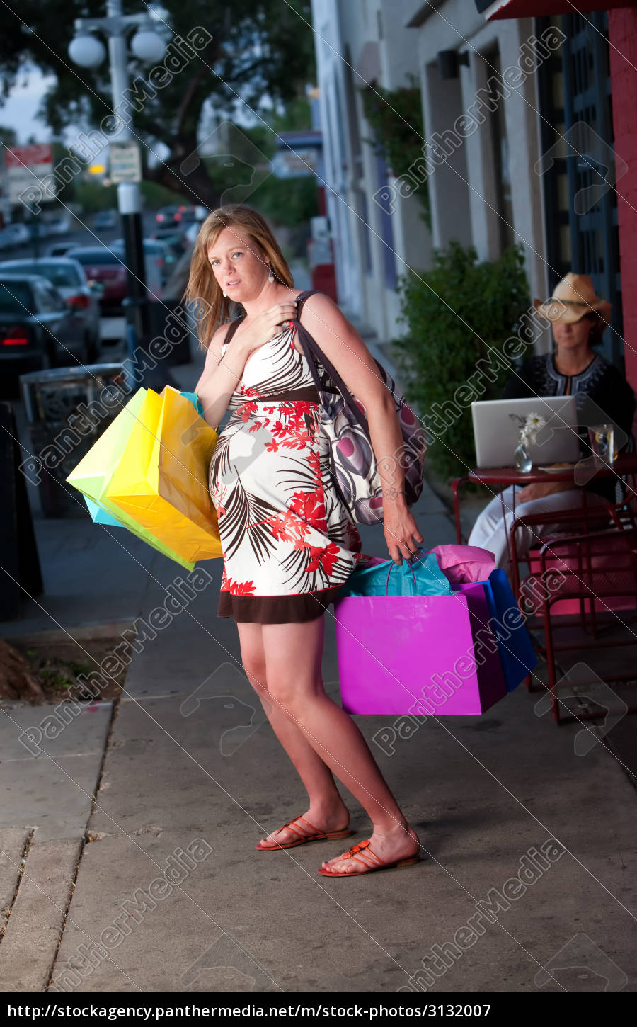 cute, pregnant, woman, shopping - 3132007
