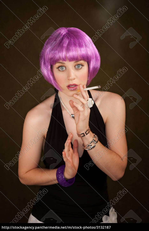 portrait, of, woman, with, shiny, purple - 3132187