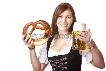 woman, in, dirndl, holds, oktoberfest, beer - 3132419