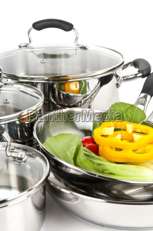 stainless, steel, pots, and, pans, with - 3134881
