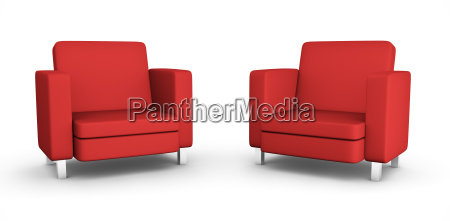two, red, armchairs - 3142815