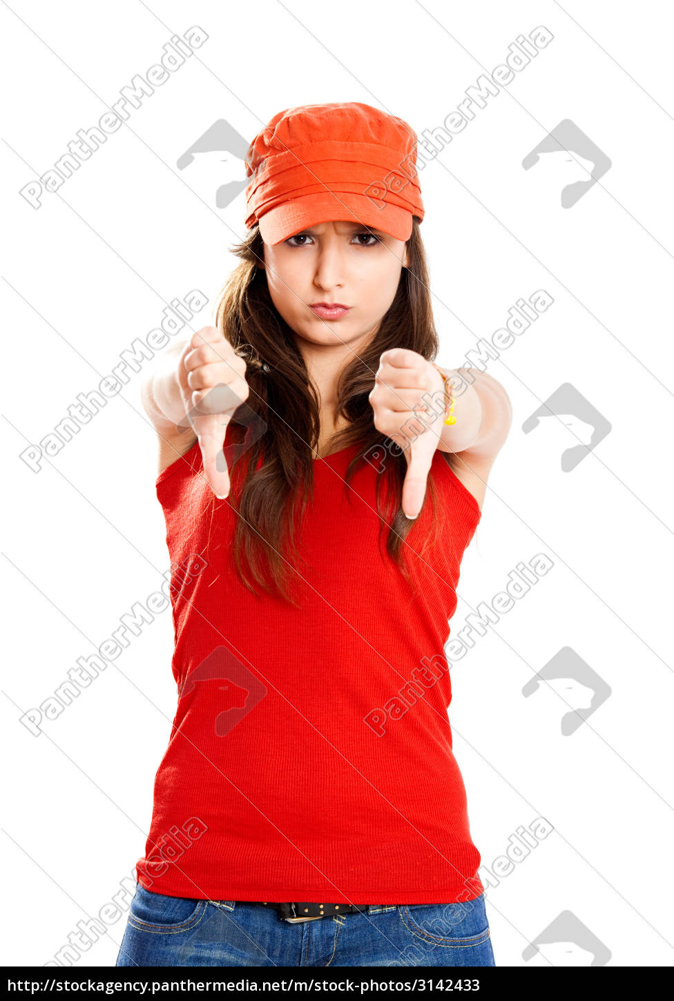 young, girl, with, thumbs, down - 3142433