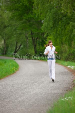 jogging, -, sportive, woman, running, on - 3144125