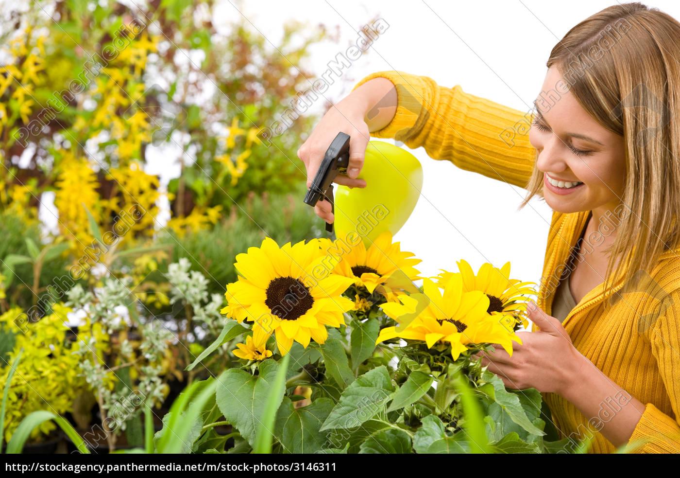gardening, -, woman, sprinkling, water, to - 3146311