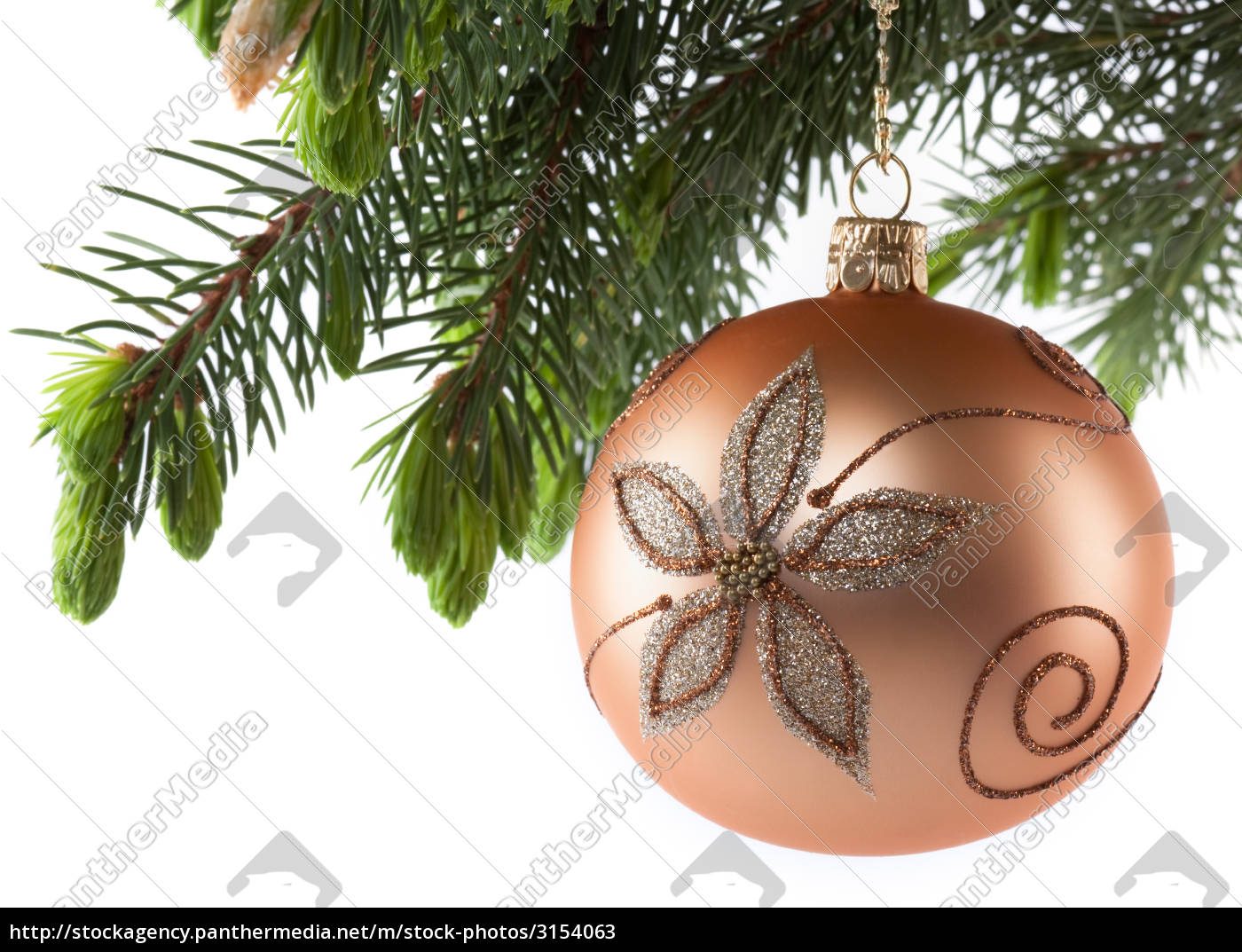 golden, bauble, with, fir, branch - 3154063