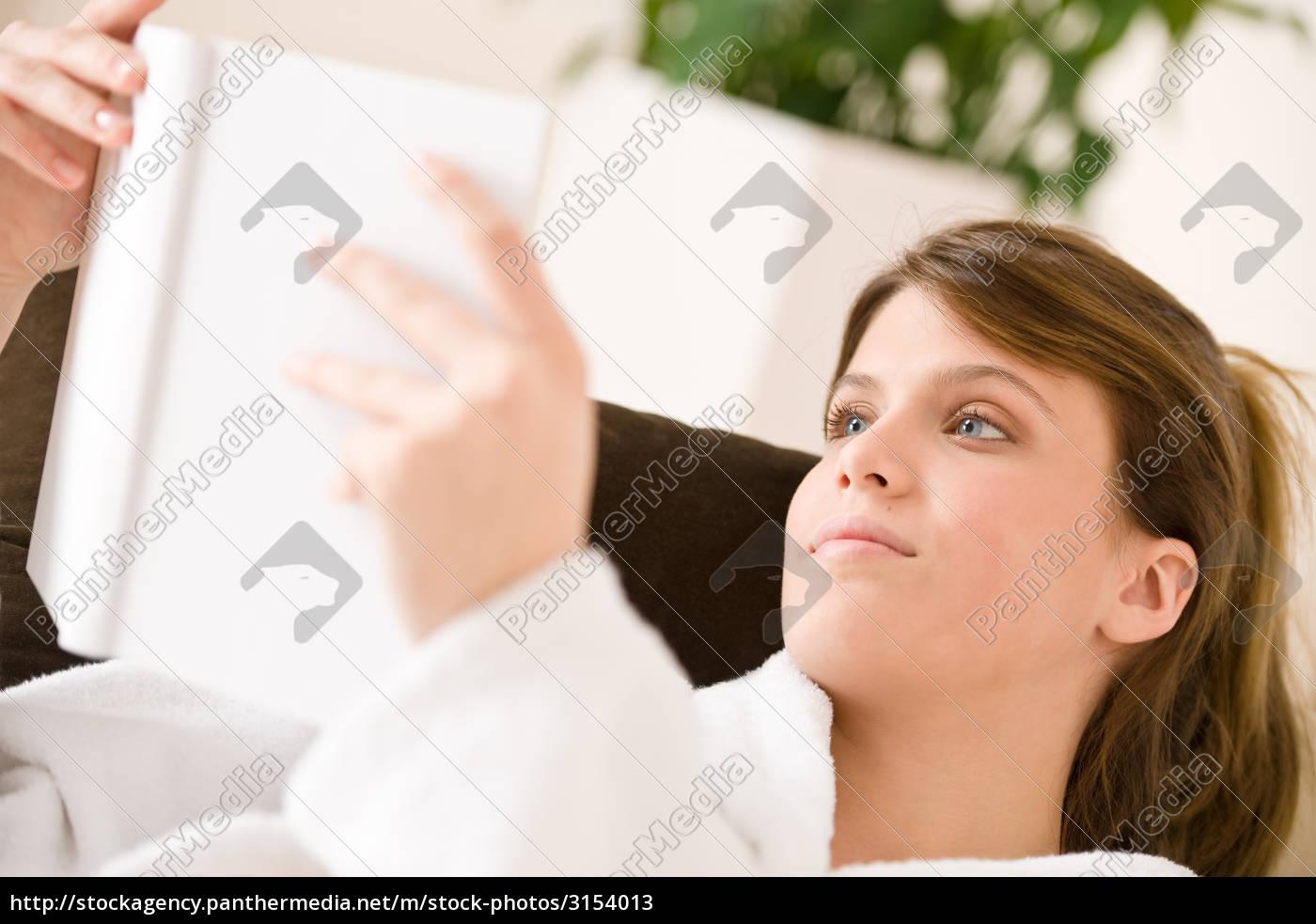 young, woman, bathrobe, reading, book - 3154013