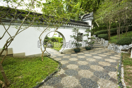 chinese, style, garden, with, trees, and - 3164533