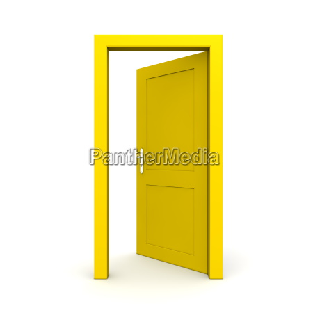 open single yellow door