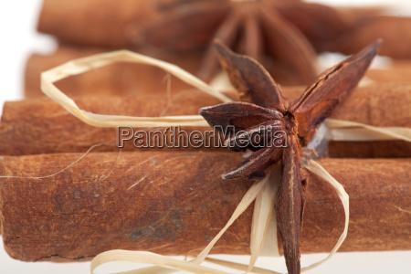 detail of cinnamon sticks isolated on