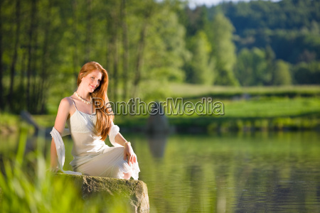 long, red, hair, romantic, woman, relax - 3186945