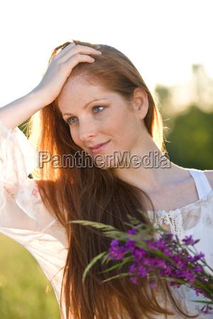 long red hair woman in romantic