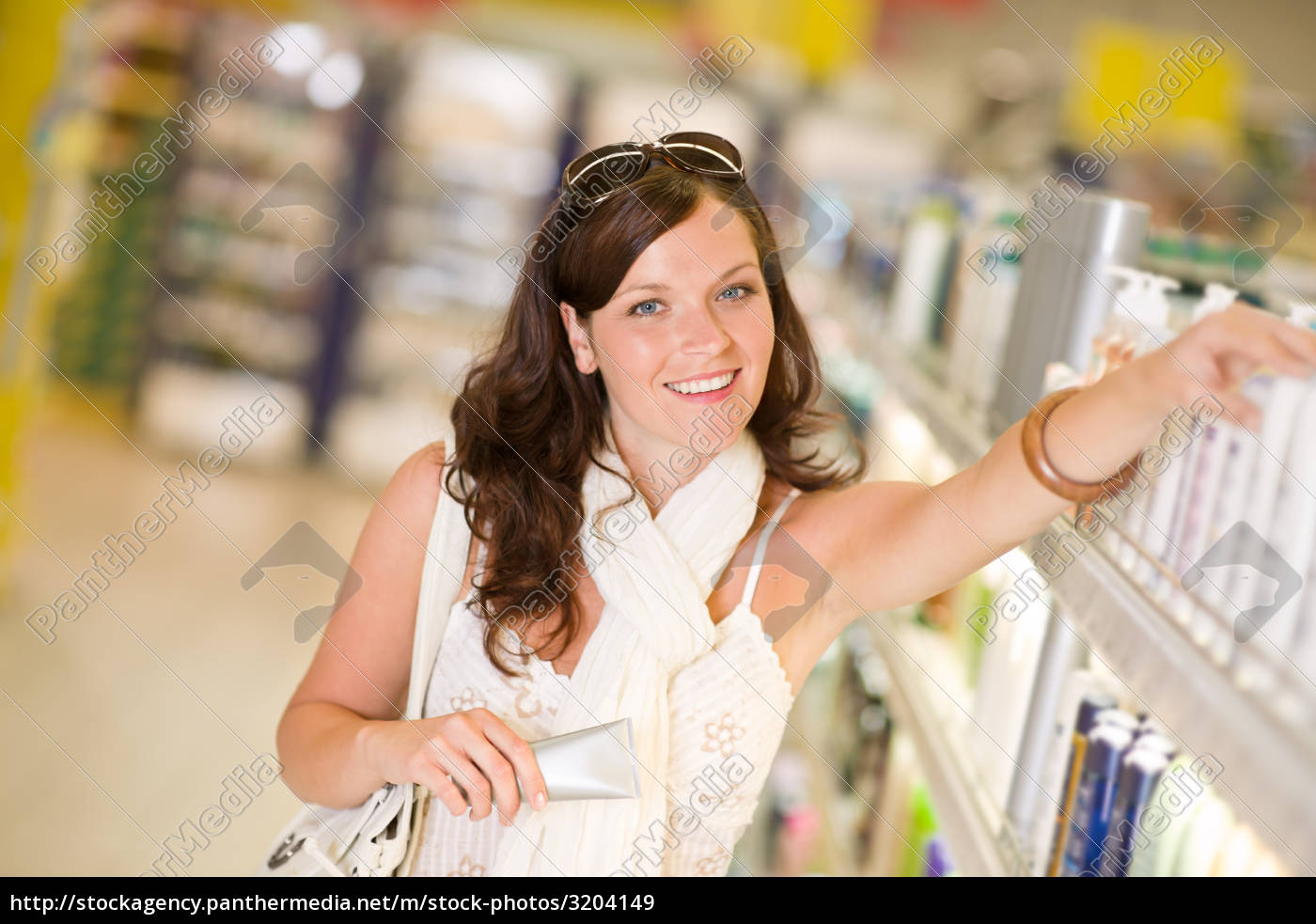shopping, cosmetics, -, woman, with, moisturizer - 3204149