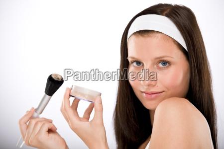 woman, beautiful, beauteously, nice, brush, powder - 3205819