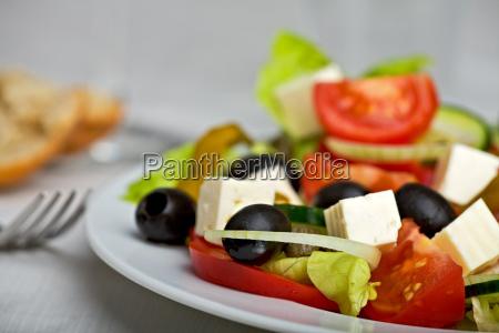 closeup of a greek salad