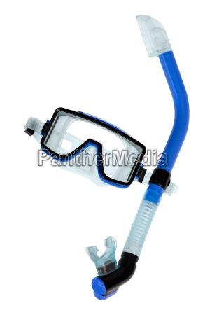 diving goggles with snorkel on white