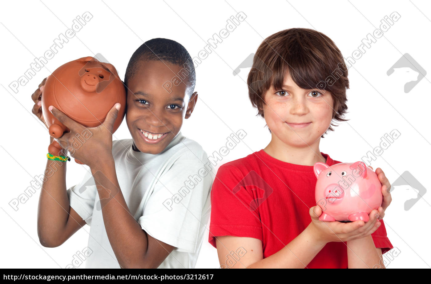 two, happy, children, with, moneybox, savings - 3212617
